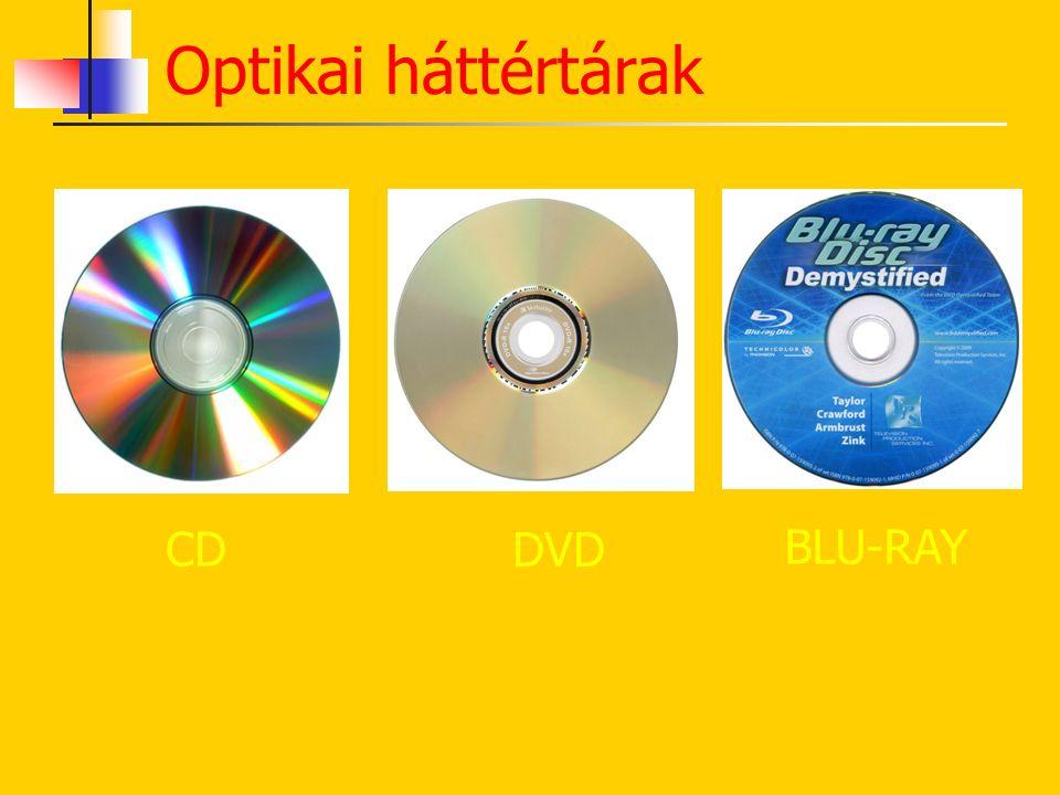 CD Műanyagkorong Spirális tárolás CD-ROM CR-R CD-RW Kapacitása: 7-800 MB Optikai háttértárak DVDBLU-RAY Műanyagkorong Spirális tárolás DVD-ROM DVD-R D