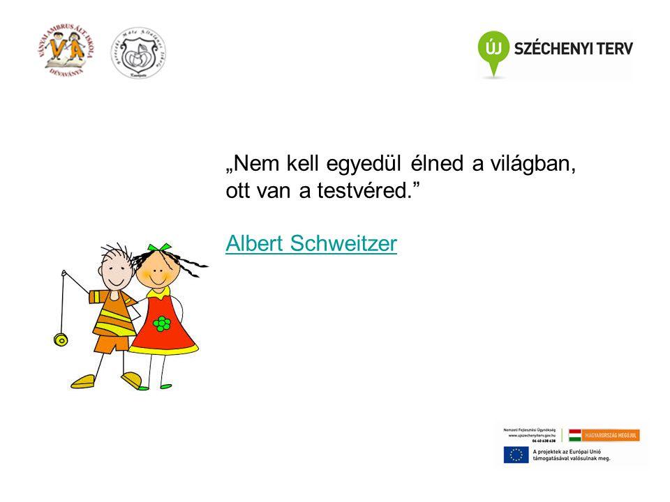 """""""Nem kell egyedül élned a világban, ott van a testvéred. Albert Schweitzer"""