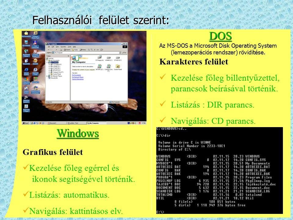 Felhasználói felület szerint: DOS Az MS ‑ DOS a Microsoft Disk Operating System (lemezoperációs rendszer) rövidítése. Karakteres felület Kezelése főle