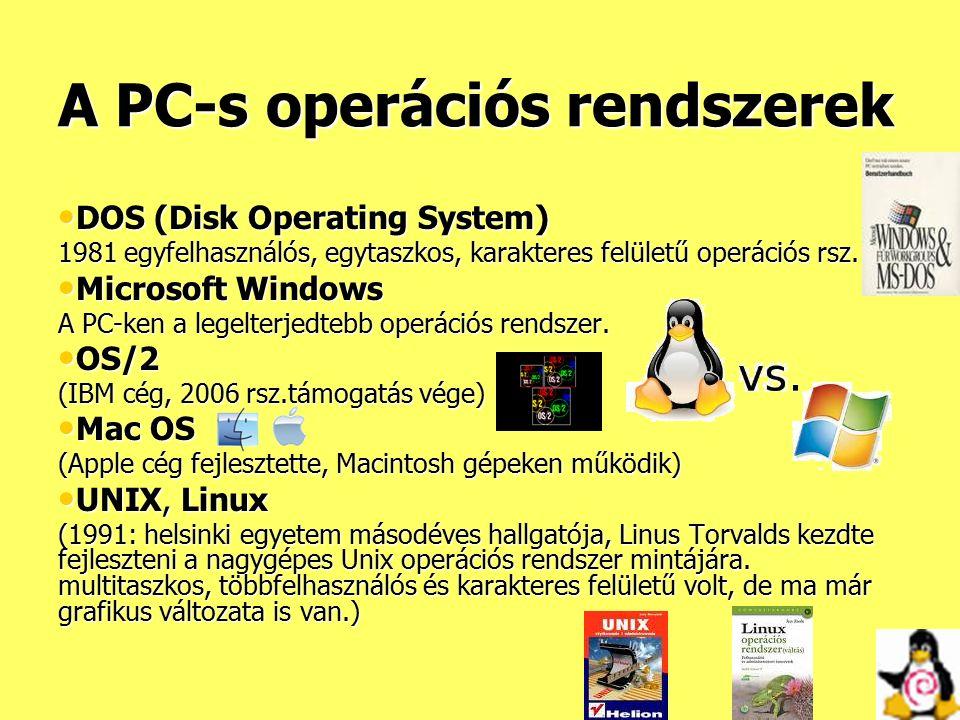 A PC-s operációs rendszerek DOS (Disk Operating System) DOS (Disk Operating System) 1981 egyfelhasználós, egytaszkos, karakteres felületű operációs rs
