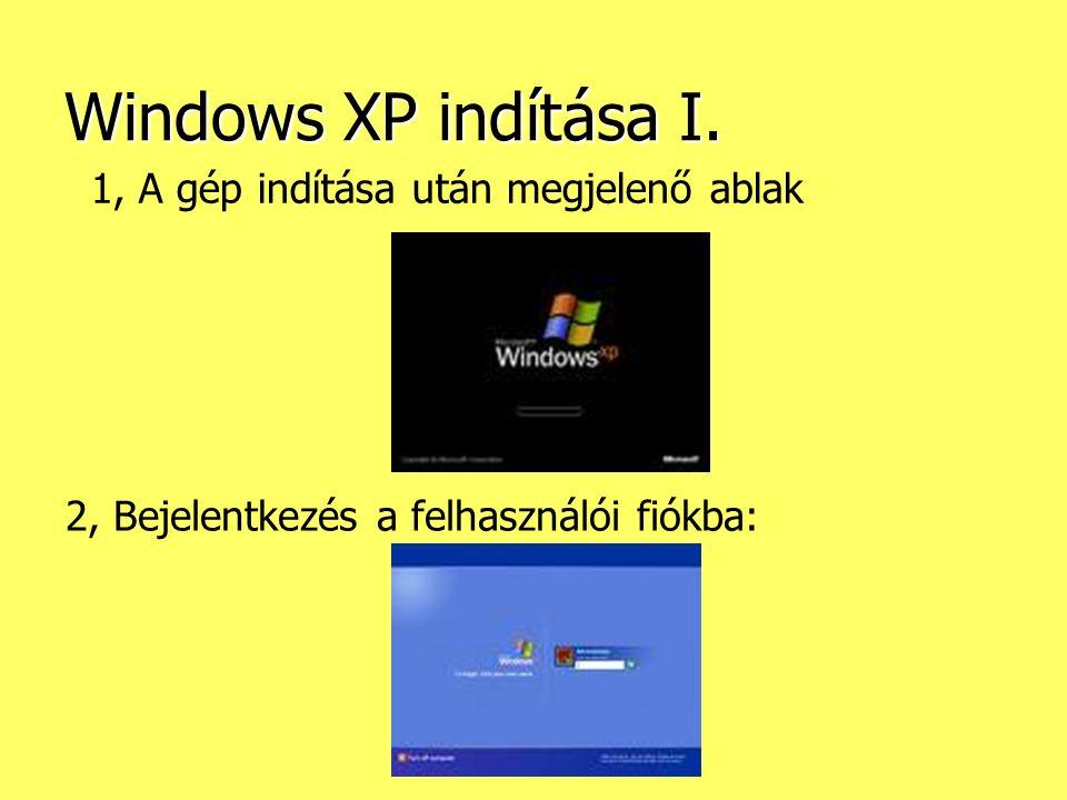 Sinkovics Ferenc Windows XP indítása I. 1, A gép indítása után megjelenő ablak 2, Bejelentkezés a felhasználói fiókba:
