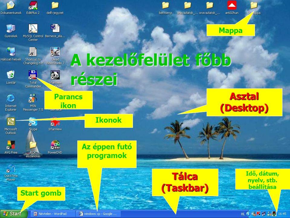 A kezelőfelület főbb részei Start gomb Tálca (Taskbar) Ikonok Parancs ikon Mappa Asztal (Desktop) Az éppen futó programok Idő, dátum, nyelv, stb. beál