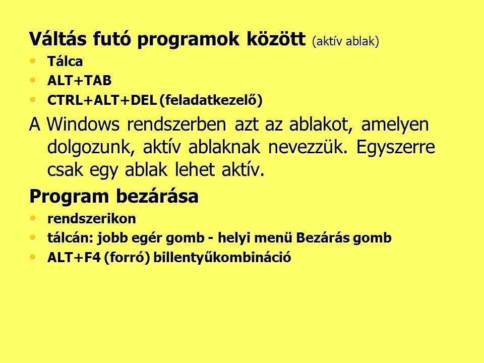 Váltás futó programok között (aktív ablak) Tálca Tálca ALT+TAB ALT+TAB CTRL+ALT+DEL (feladatkezelő) CTRL+ALT+DEL (feladatkezelő) A Windows rendszerben