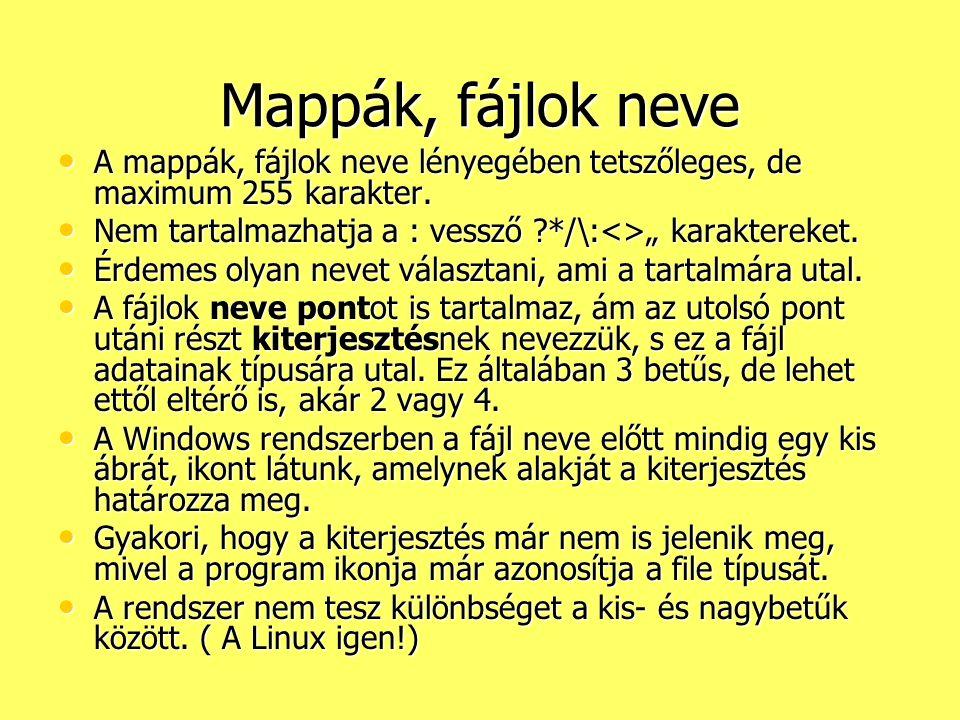 Mappák, fájlok neve A mappák, fájlok neve lényegében tetszőleges, de maximum 255 karakter. A mappák, fájlok neve lényegében tetszőleges, de maximum 25