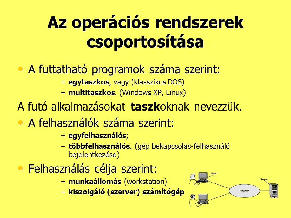 Az operációs rendszerek csoportosítása A futtatható programok száma szerint: A futtatható programok száma szerint: –egytaszkos, vagy (klasszikus DOS)