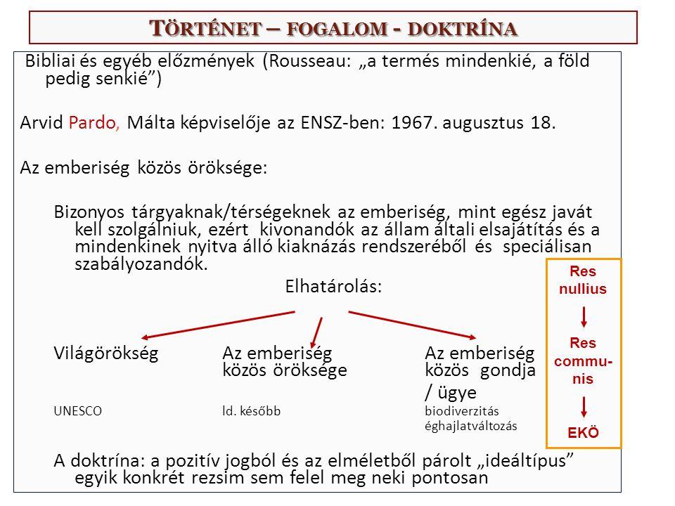 """T ÖRTÉNET – FOGALOM - DOKTRÍNA Bibliai és egyéb előzmények (Rousseau: """"a termés mindenkié, a föld pedig senkié ) Arvid Pardo, Málta képviselője az ENSZ-ben: 1967."""
