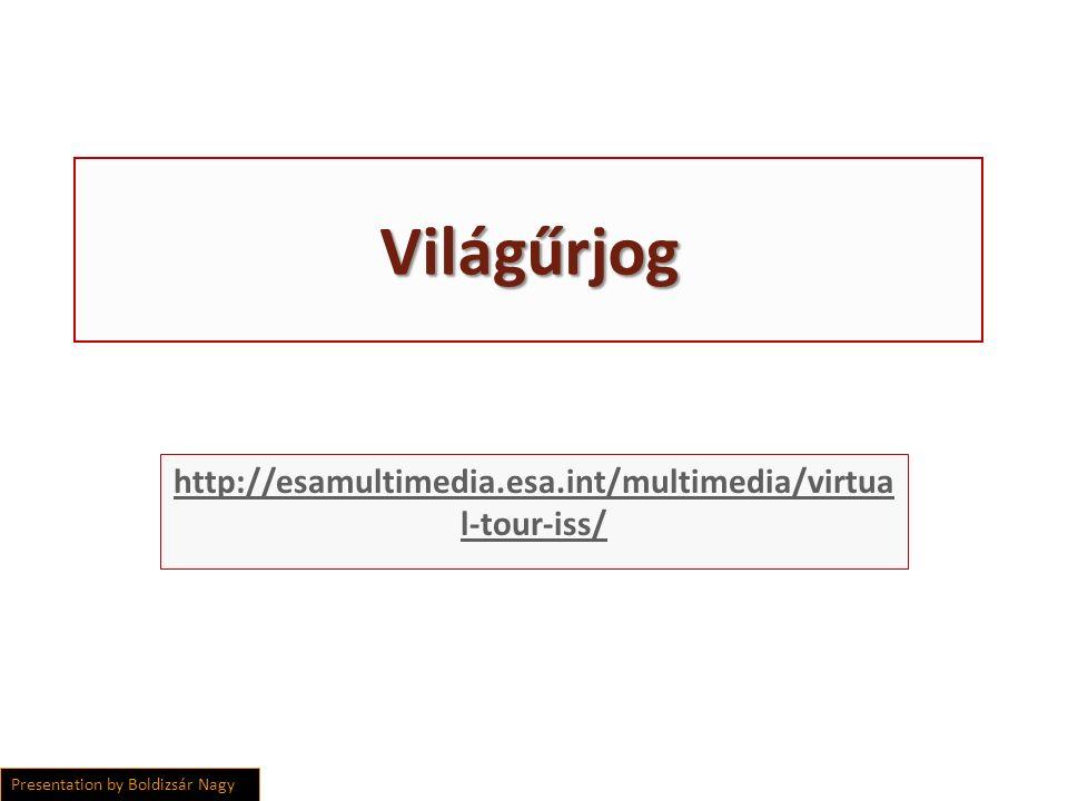 Világűrjog http://esamultimedia.esa.int/multimedia/virtua l-tour-iss/ Presentation by Boldizsár Nagy