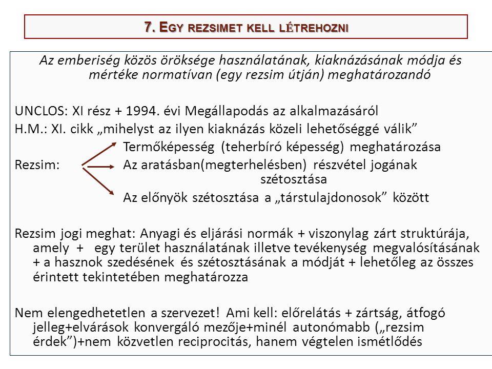 7. E GY REZSIMET KELL L É TREHOZNI Az emberiség közös öröksége használatának, kiaknázásának módja és mértéke normatívan (egy rezsim útján) meghatároza