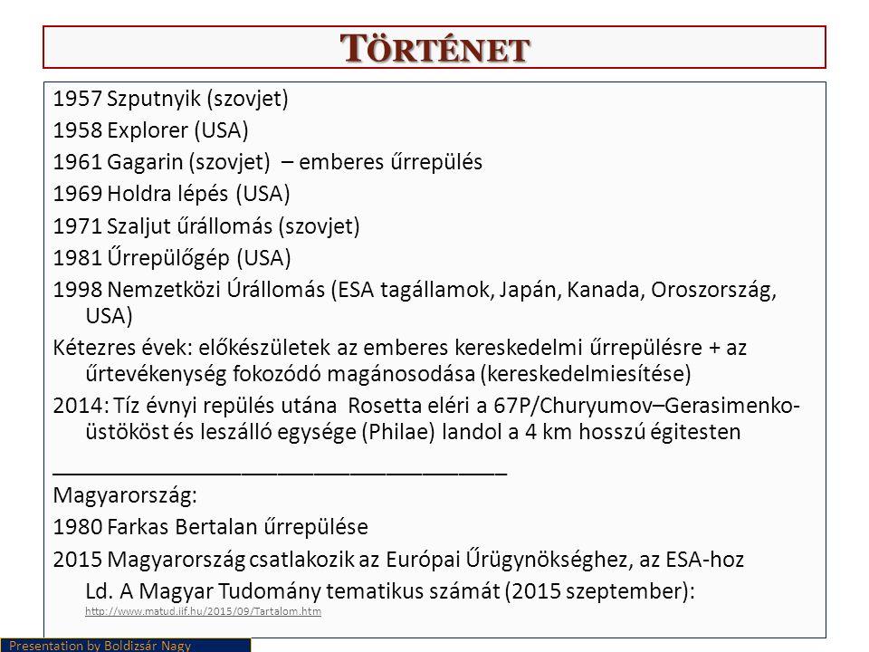 T ÖRTÉNET 1957 Szputnyik (szovjet) 1958 Explorer (USA) 1961 Gagarin (szovjet) – emberes űrrepülés 1969 Holdra lépés (USA) 1971 Szaljut űrállomás (szovjet) 1981 Űrrepülőgép (USA) 1998 Nemzetközi Úrállomás (ESA tagállamok, Japán, Kanada, Oroszország, USA) Kétezres évek: előkészületek az emberes kereskedelmi űrrepülésre + az űrtevékenység fokozódó magánosodása (kereskedelmiesítése) 2014: Tíz évnyi repülés utána Rosetta eléri a 67P/Churyumov–Gerasimenko- üstököst és leszálló egysége (Philae) landol a 4 km hosszú égitesten ______________________________________ Magyarország: 1980 Farkas Bertalan űrrepülése 2015 Magyarország csatlakozik az Európai Űrügynökséghez, az ESA-hoz Ld.