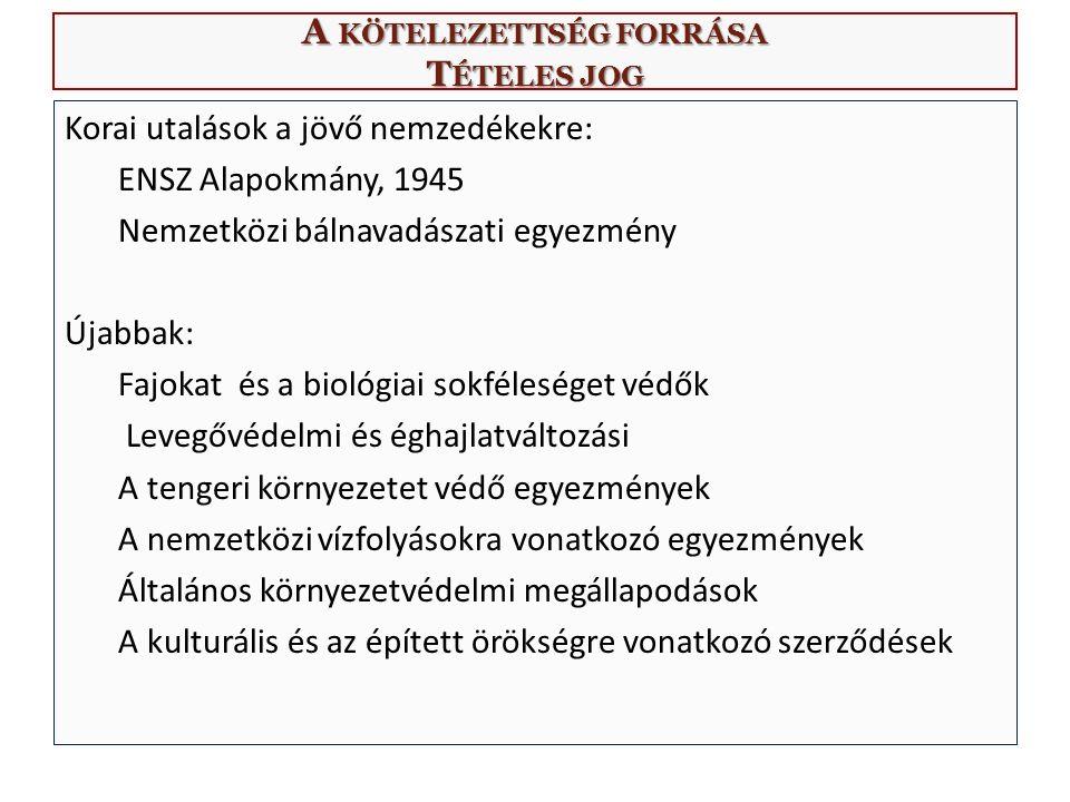 A KÖTELEZETTSÉG FORRÁSA T ÉTELES JOG Korai utalások a jövő nemzedékekre: ENSZ Alapokmány, 1945 Nemzetközi bálnavadászati egyezmény Újabbak: Fajokat és a biológiai sokféleséget védők Levegővédelmi és éghajlatváltozási A tengeri környezetet védő egyezmények A nemzetközi vízfolyásokra vonatkozó egyezmények Általános környezetvédelmi megállapodások A kulturális és az épített örökségre vonatkozó szerződések