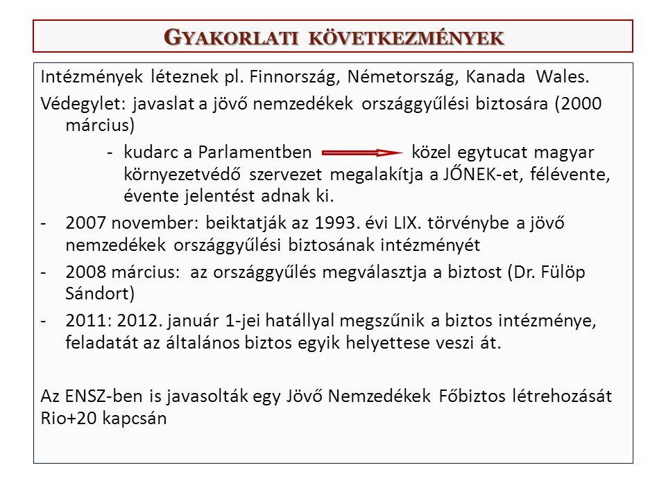 G YAKORLATI KÖVETKEZMÉNYEK Intézmények léteznek pl.