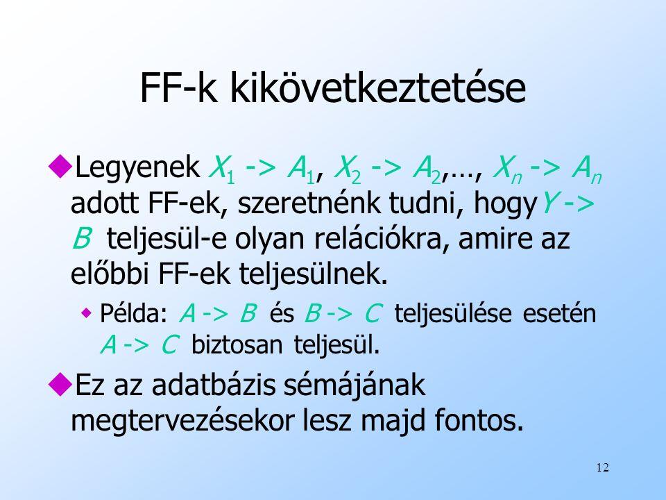 12 FF-k kikövetkeztetése uLegyenek X 1 -> A 1, X 2 -> A 2,…, X n -> A n adott FF-ek, szeretnénk tudni, hogyY -> B teljesül-e olyan relációkra, amire a