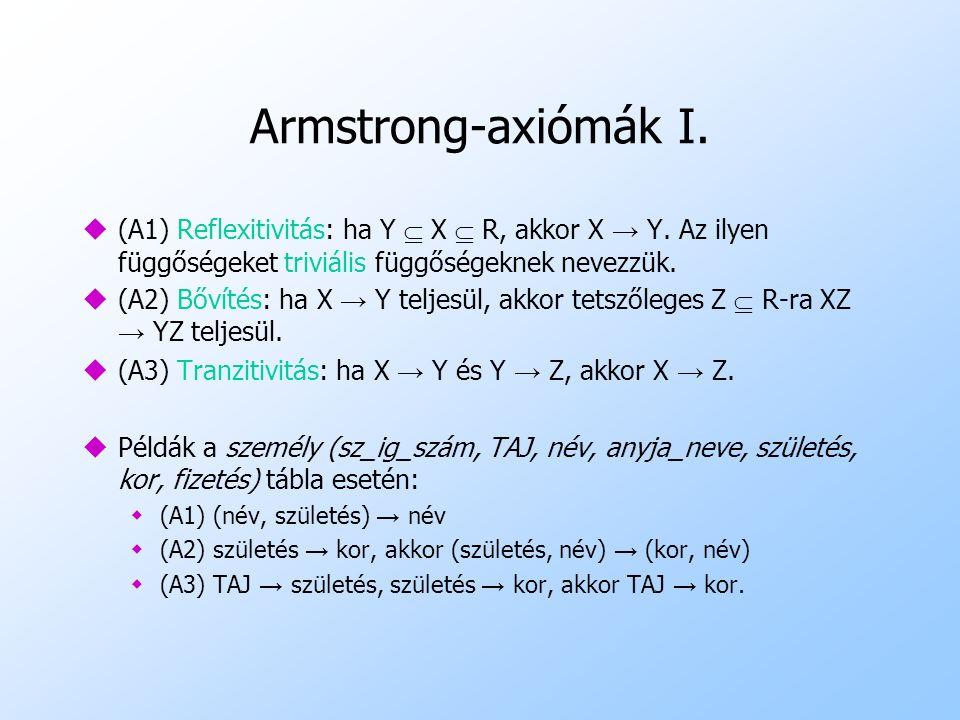 Armstrong-axiómák I. u(A1) Reflexitivitás: ha Y  X  R, akkor X → Y. Az ilyen függőségeket triviális függőségeknek nevezzük. u (A2) Bővítés: ha X → Y