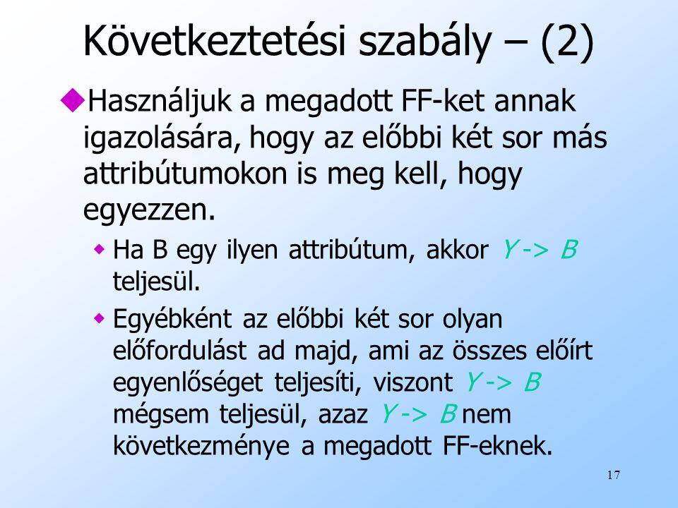 17 Következtetési szabály – (2) uHasználjuk a megadott FF-ket annak igazolására, hogy az előbbi két sor más attribútumokon is meg kell, hogy egyezzen.