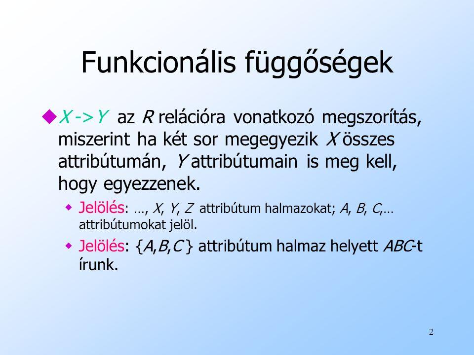 2 Funkcionális függőségek uX ->Y az R relációra vonatkozó megszorítás, miszerint ha két sor megegyezik X összes attribútumán, Y attribútumain is meg k