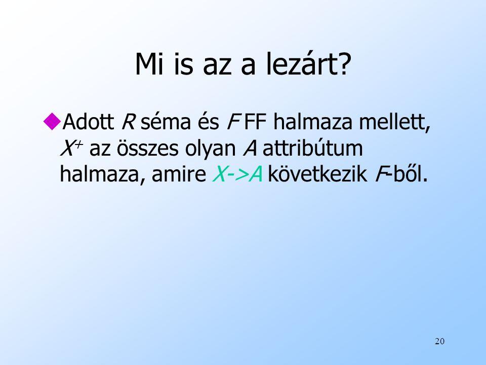 Mi is az a lezárt? uAdott R séma és F FF halmaza mellett, X + az összes olyan A attribútum halmaza, amire X->A következik F-ből. 20