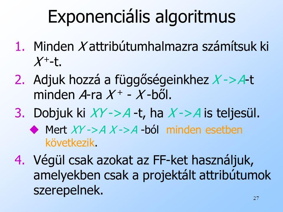 27 Exponenciális algoritmus 1.Minden X attribútumhalmazra számítsuk ki X + -t. 2.Adjuk hozzá a függőségeinkhez X ->A-t minden A-ra X + - X -ből. 3.Dob