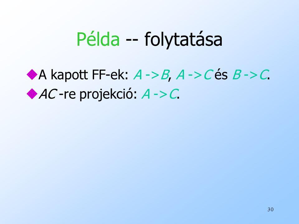 30 Példa -- folytatása uA kapott FF-ek: A ->B, A ->C és B ->C. uAC -re projekció: A ->C.