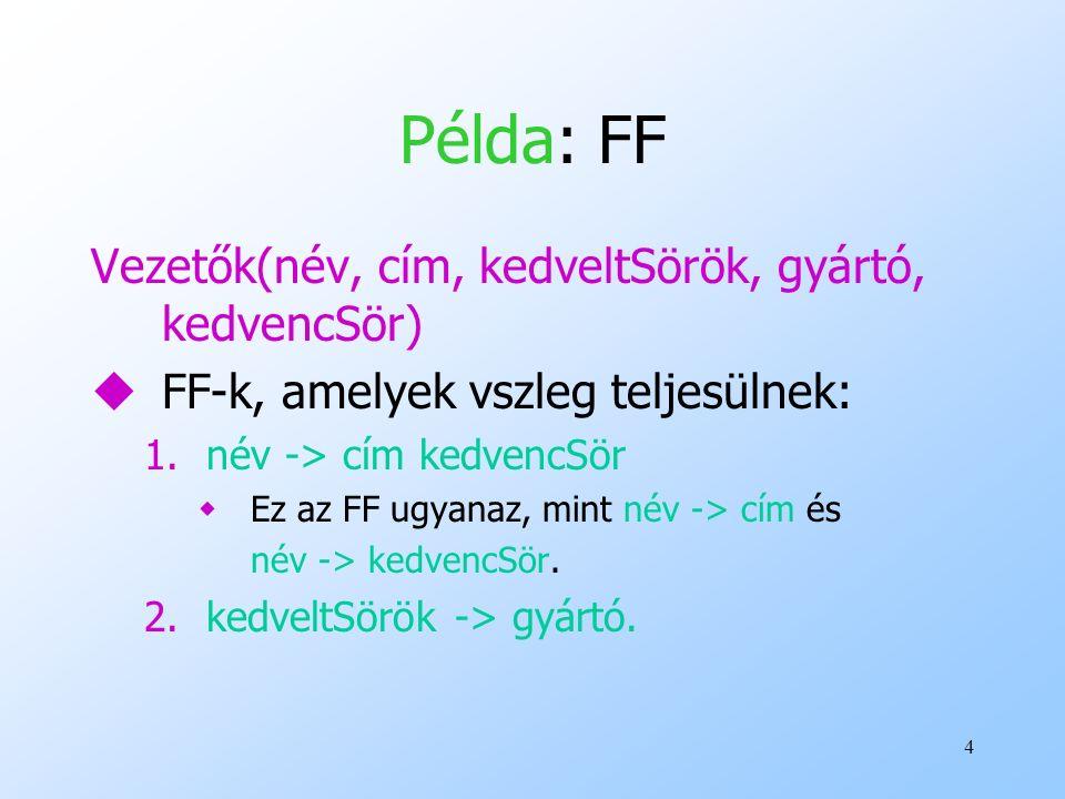 4 Példa: FF Vezetők(név, cím, kedveltSörök, gyártó, kedvencSör) uFF-k, amelyek vszleg teljesülnek: 1.név -> cím kedvencSör wEz az FF ugyanaz, mint név