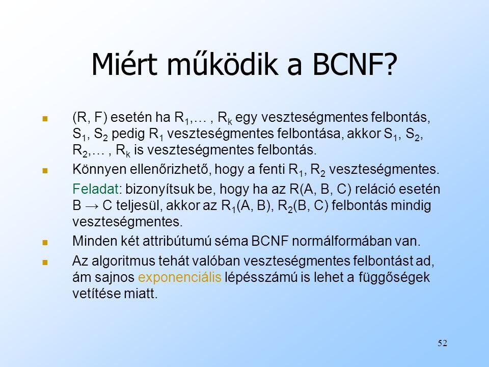 Miért működik a BCNF? (R, F) esetén ha R 1,…, R k egy veszteségmentes felbontás, S 1, S 2 pedig R 1 veszteségmentes felbontása, akkor S 1, S 2, R 2,…,