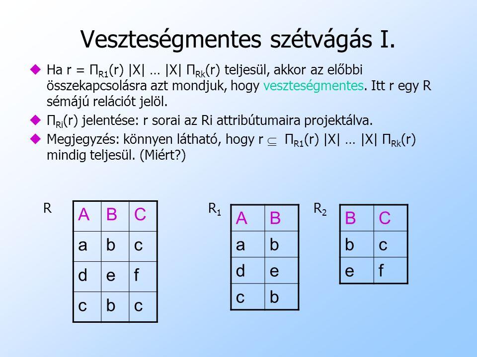 Veszteségmentes szétvágás I. uHa r = Π R1 (r) |X| … |X| Π Rk (r) teljesül, akkor az előbbi összekapcsolásra azt mondjuk, hogy veszteségmentes. Itt r e