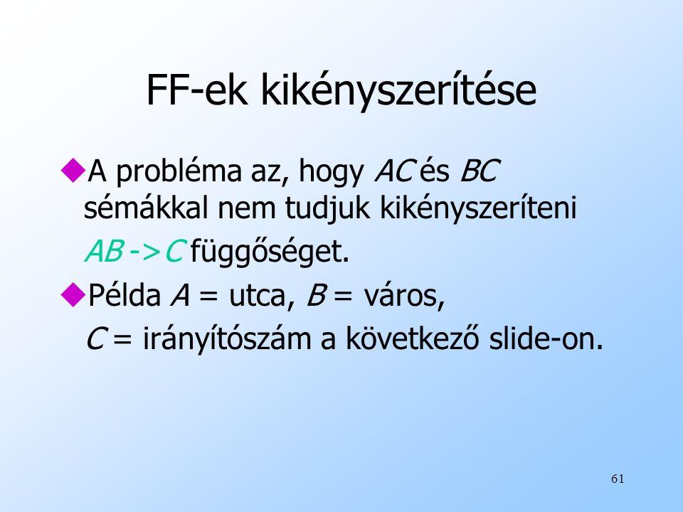61 FF-ek kikényszerítése uA probléma az, hogy AC és BC sémákkal nem tudjuk kikényszeríteni AB ->C függőséget. uPélda A = utca, B = város, C = irányító