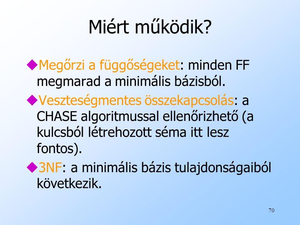 70 Miért működik? uMegőrzi a függőségeket: minden FF megmarad a minimális bázisból. uVeszteségmentes összekapcsolás: a CHASE algoritmussal ellenőrizhe