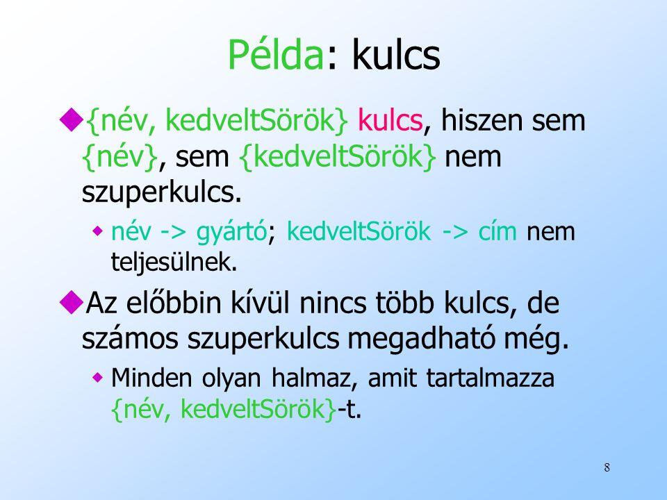 8 Példa: kulcs u{név, kedveltSörök} kulcs, hiszen sem {név}, sem {kedveltSörök} nem szuperkulcs. wnév -> gyártó; kedveltSörök -> cím nem teljesülnek.