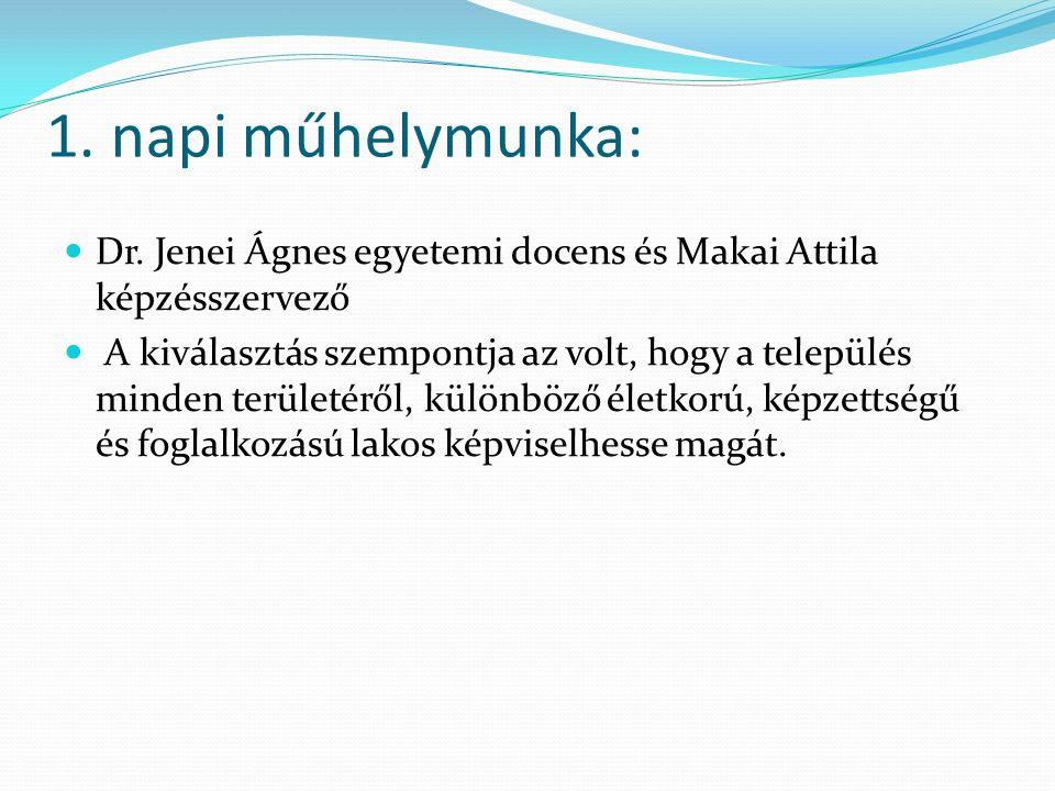 1. napi műhelymunka: Dr. Jenei Ágnes egyetemi docens és Makai Attila képzésszervező A kiválasztás szempontja az volt, hogy a település minden területé