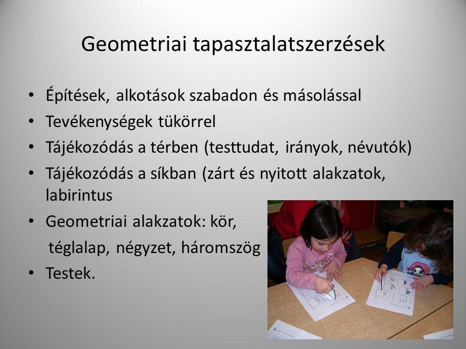 Geometriai tapasztalatszerzések Építések, alkotások szabadon és másolással Tevékenységek tükörrel Tájékozódás a térben (testtudat, irányok, névutók) Tájékozódás a síkban (zárt és nyitott alakzatok, labirintus Geometriai alakzatok: kör, téglalap, négyzet, háromszög Testek.