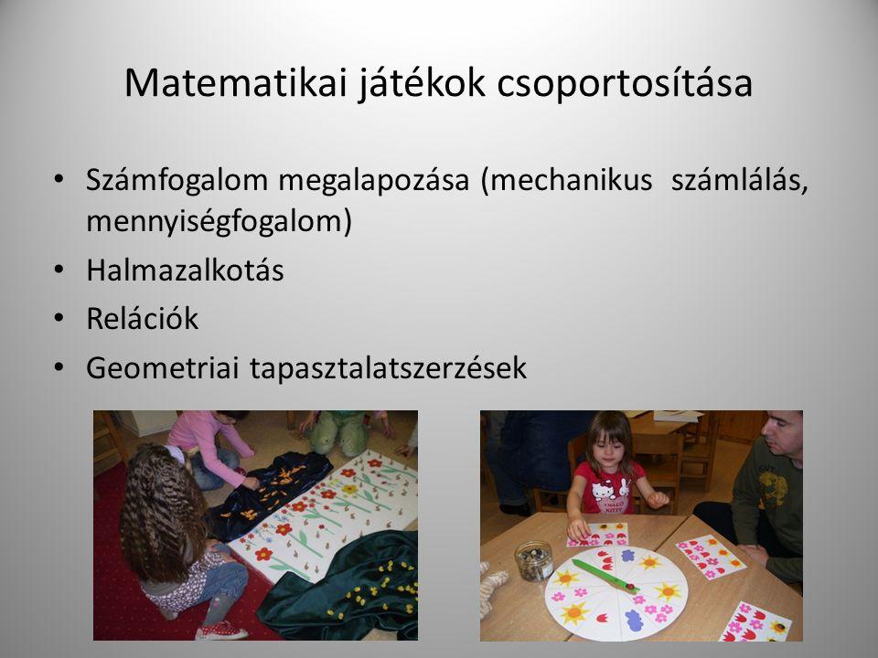 Matematikai játékok csoportosítása Számfogalom megalapozása (mechanikus számlálás, mennyiségfogalom) Halmazalkotás Relációk Geometriai tapasztalatszer