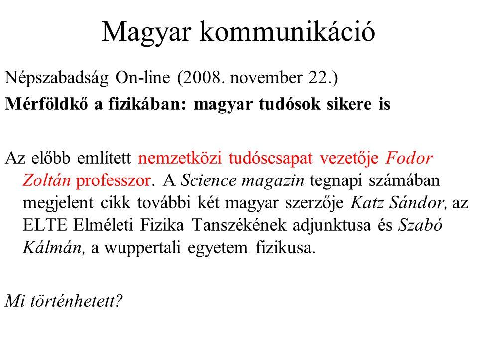 Magyar kommunikáció Népszabadság On-line (2008.
