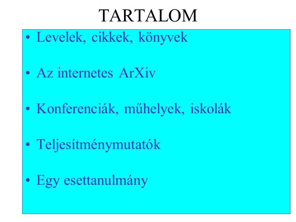 TARTALOM Levelek, cikkek, könyvek Az internetes ArXiv Konferenciák, műhelyek, iskolák Teljesítménymutatók Egy esettanulmány