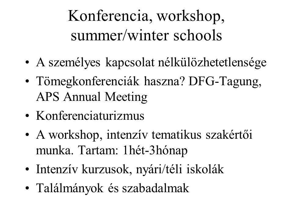 Konferencia, workshop, summer/winter schools A személyes kapcsolat nélkülözhetetlensége Tömegkonferenciák haszna.