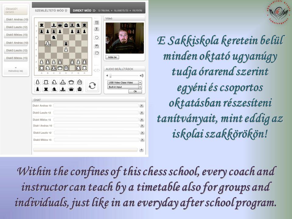 E Sakkiskola keretein belül minden oktató ugyanúgy tudja órarend szerint egyéni és csoportos oktatásban részesíteni tanítványait, mint eddig az iskolai szakkörökön.