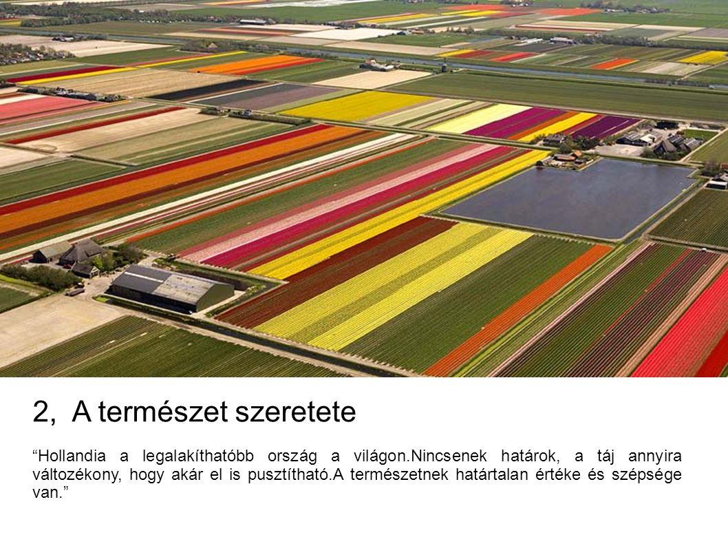 2, A természet szeretete Hollandia a legalakíthatóbb ország a világon.Nincsenek határok, a táj annyira változékony, hogy akár el is pusztítható.A természetnek határtalan értéke és szépsége van.