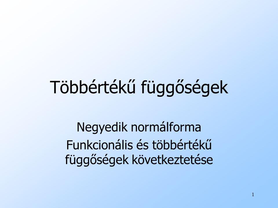 12 4NF definíció uEgy R reláció 4NF -ben van ha: minden X ->->Y nemtriviális FÉK esetén X szuperkulcs.