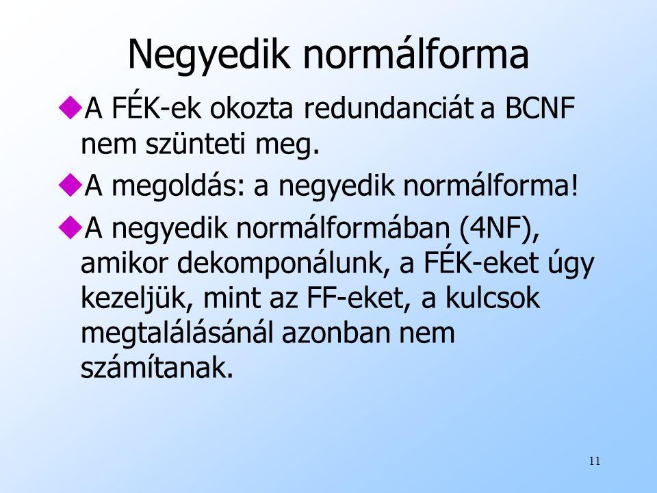 11 Negyedik normálforma uA FÉK-ek okozta redundanciát a BCNF nem szünteti meg. uA megoldás: a negyedik normálforma! uA negyedik normálformában (4NF),