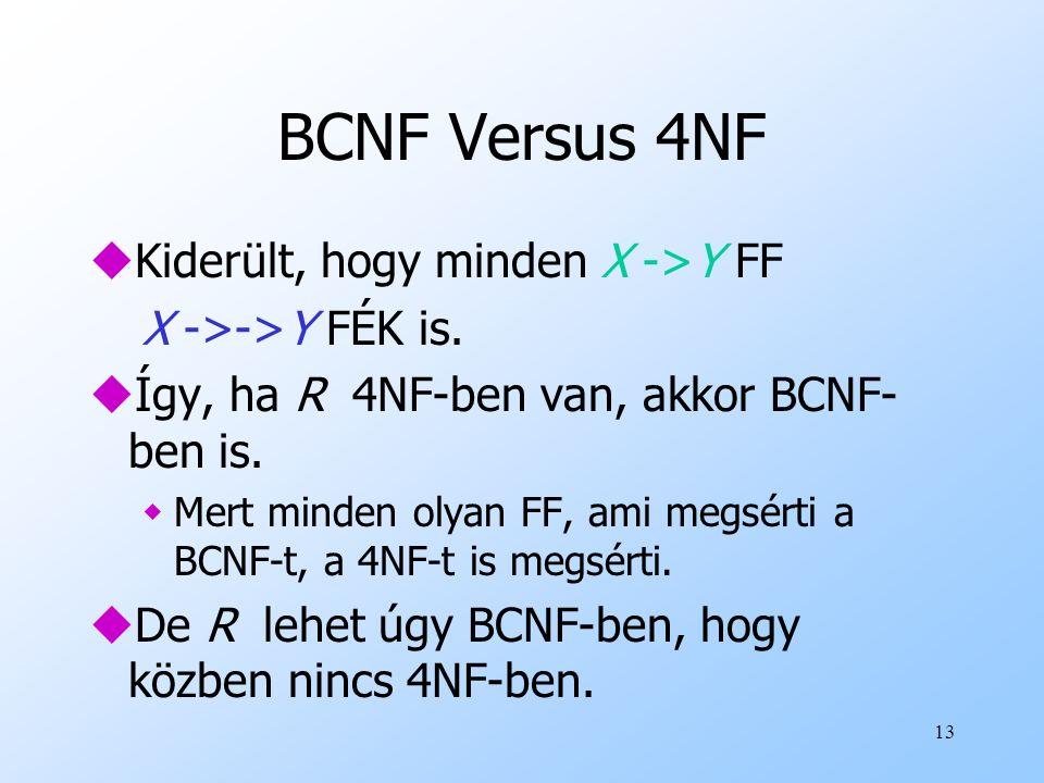 13 BCNF Versus 4NF uKiderült, hogy minden X ->Y FF X ->->Y FÉK is. uÍgy, ha R 4NF-ben van, akkor BCNF- ben is. wMert minden olyan FF, ami megsérti a B