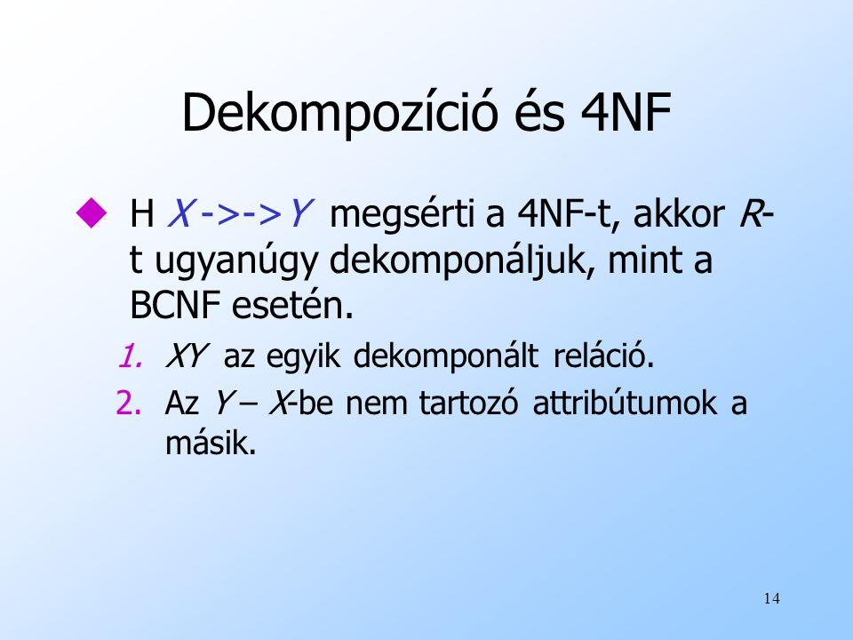 14 Dekompozíció és 4NF uH X ->->Y megsérti a 4NF-t, akkor R- t ugyanúgy dekomponáljuk, mint a BCNF esetén. 1.XY az egyik dekomponált reláció. 2.Az Y –