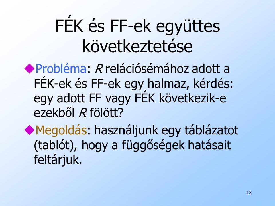 18 FÉK és FF-ek együttes következtetése uProbléma: R relációsémához adott a FÉK-ek és FF-ek egy halmaz, kérdés: egy adott FF vagy FÉK következik-e eze