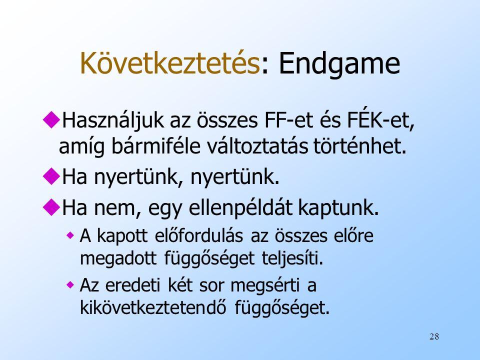 28 Következtetés: Endgame uHasználjuk az összes FF-et és FÉK-et, amíg bármiféle változtatás történhet. uHa nyertünk, nyertünk. uHa nem, egy ellenpéldá