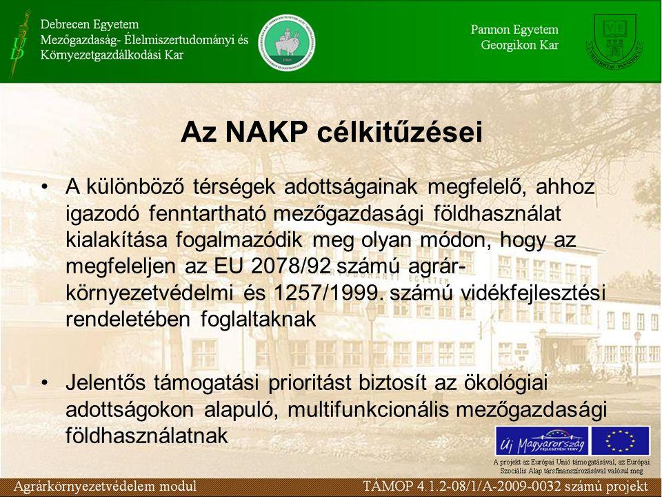 Az NAKP célkitűzései A különböző térségek adottságainak megfelelő, ahhoz igazodó fenntartható mezőgazdasági földhasználat kialakítása fogalmazódik meg olyan módon, hogy az megfeleljen az EU 2078/92 számú agrár- környezetvédelmi és 1257/1999.