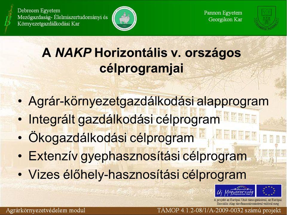 A Nemzeti Agrár- Környezetvédelmi Program felépítése
