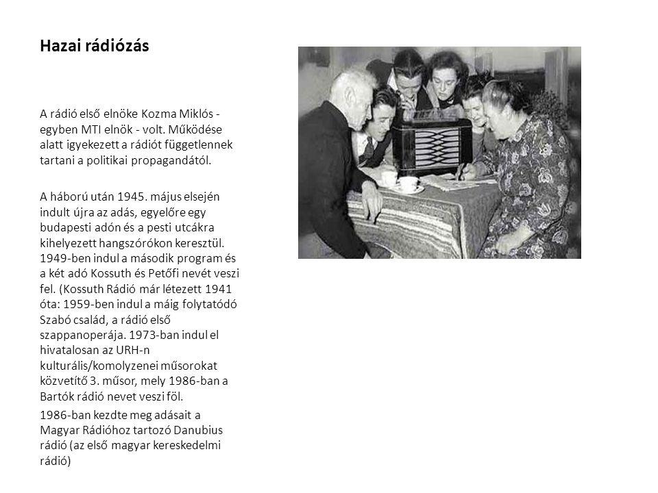 Hazai rádiózás A rádió első elnöke Kozma Miklós - egyben MTI elnök - volt. Működése alatt igyekezett a rádiót függetlennek tartani a politikai propaga