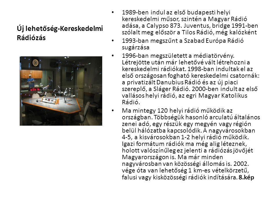 Új lehetőség-Kereskedelmi Rádiózás 1989-ben indul az első budapesti helyi kereskedelmi műsor, szintén a Magyar Rádió adása, a Calypso 873. Juventus, b