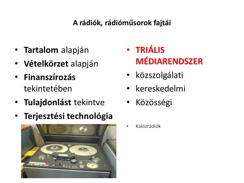 A rádiók, rádióműsorok fajtái Tartalom alapján Vételkörzet alapján Finanszírozás tekintetében Tulajdonlást tekintve Terjesztési technológia alapján TR