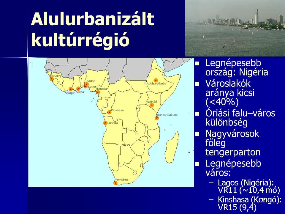 111111 Alulurbanizált kultúrrégió Legnépesebb ország: Nigéria Városlakók aránya kicsi (<40%) Óriási falu–város különbség Nagyvárosok főleg tengerparto