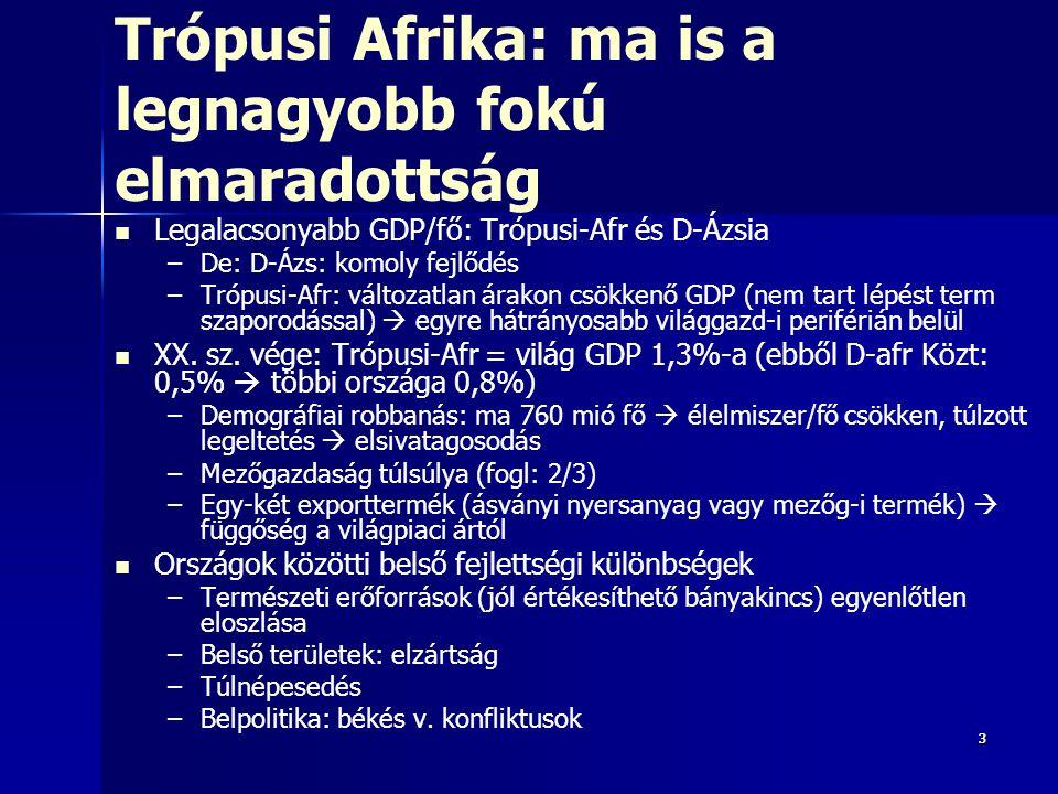 Sajátos, elsősorban Trópusi- Afrikára jellemző térségspecifikus okok