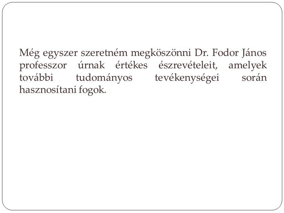Még egyszer szeretném megköszönni Dr. Fodor János professzor úrnak értékes észrevételeit, amelyek további tudományos tevékenységei során hasznosítani